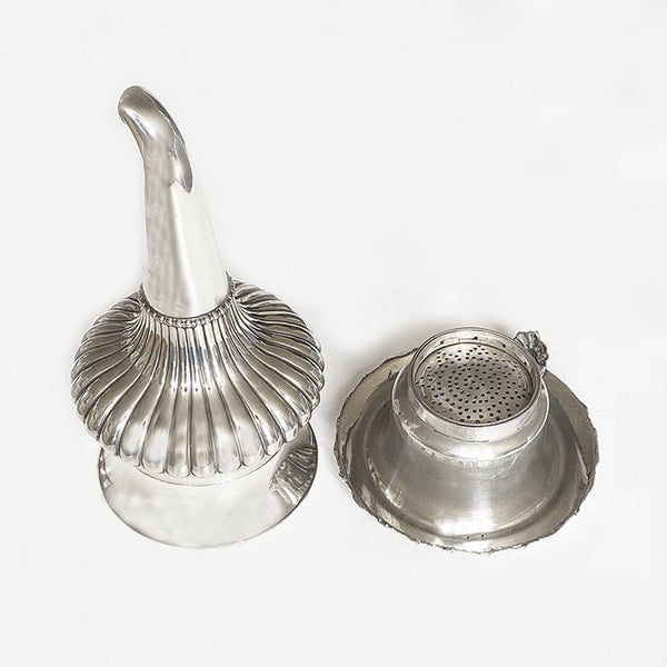 a secondhand antique decorative silver plate wine funnel circa 1830