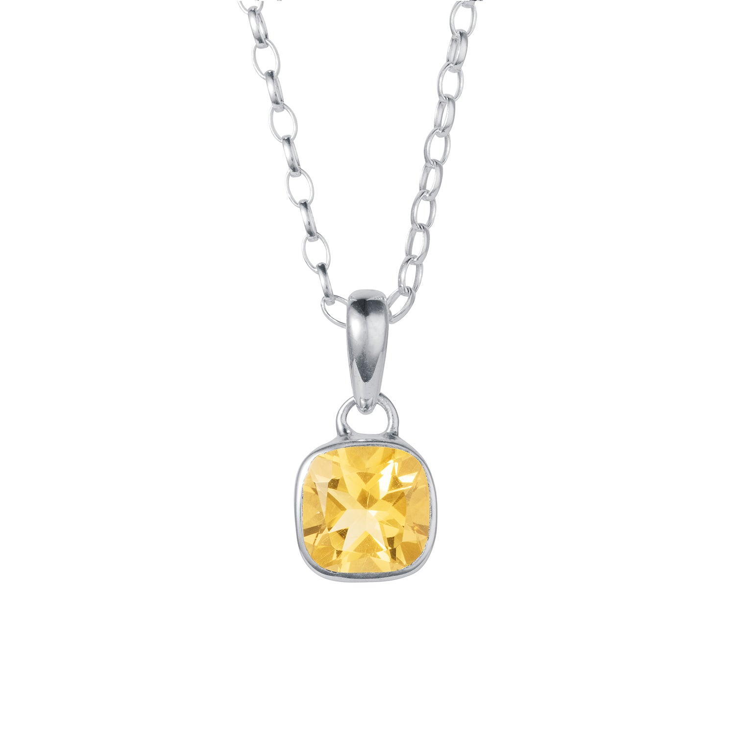a square citrine pendant necklace in silver by christin ranger