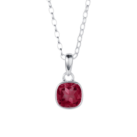 square garnet rub over pendant necklace in silver by christin ranger