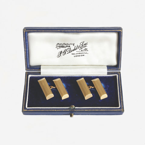 a set of engine turned bar cufflinks in yellow gold with vintage box dated 1963