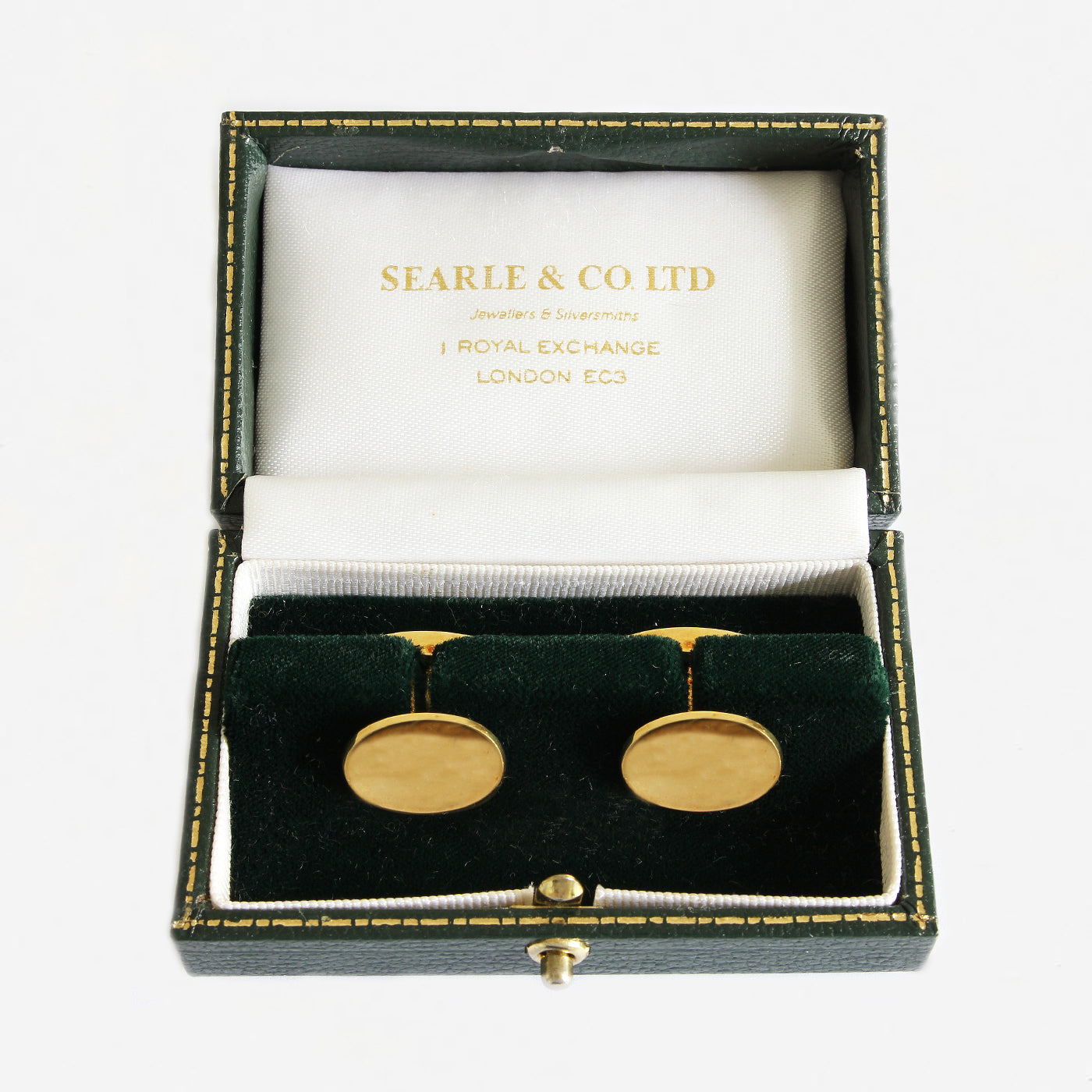 a secondhand pair of oval yellow gold cufflinks dated 1988 with box