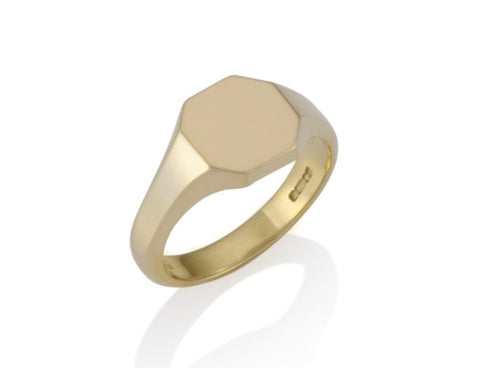 a gold octagonal signet ring 9mm x 9mm