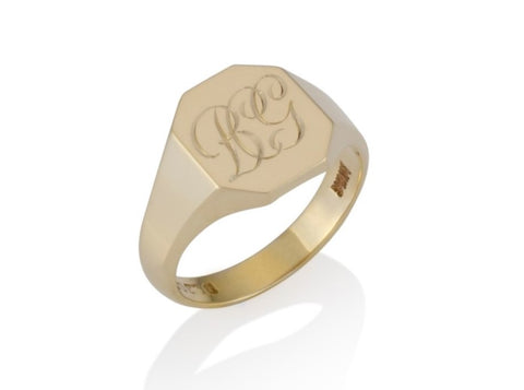 a gold oblong cut corner signet ring 13mm x 11mm