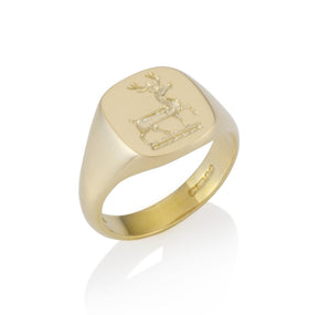 a cushion shape fine quality solid signet ring