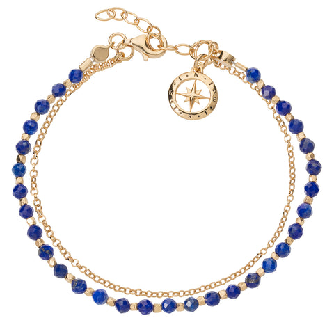 Friendship Bracelet Gold Plated Silver with Lapis by Christin Ranger