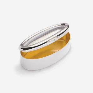 a modern sterling silver pill box oval shaped with a gilt interior heavy weight