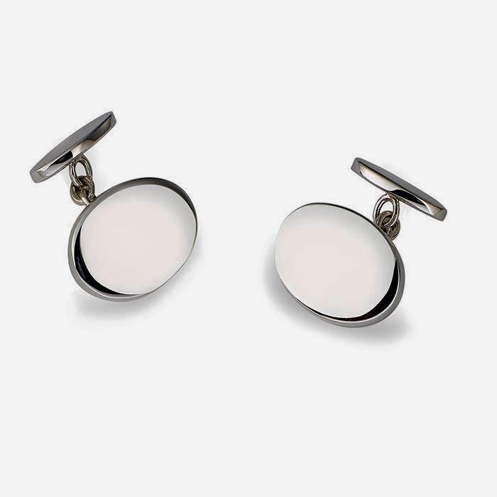 sterling silver set of mens cufflinks with oval plain design and chain fittings by francis howard in sheffield