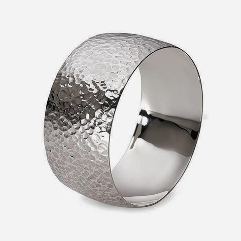 a hammered silver men's bangle with plain inside very wide and 65 diameter