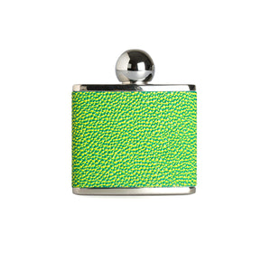 A 2oz green hip flask by Marlborough of England
