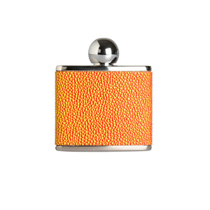 An orange oval ball top hip flask 2oz by Marlborough of England