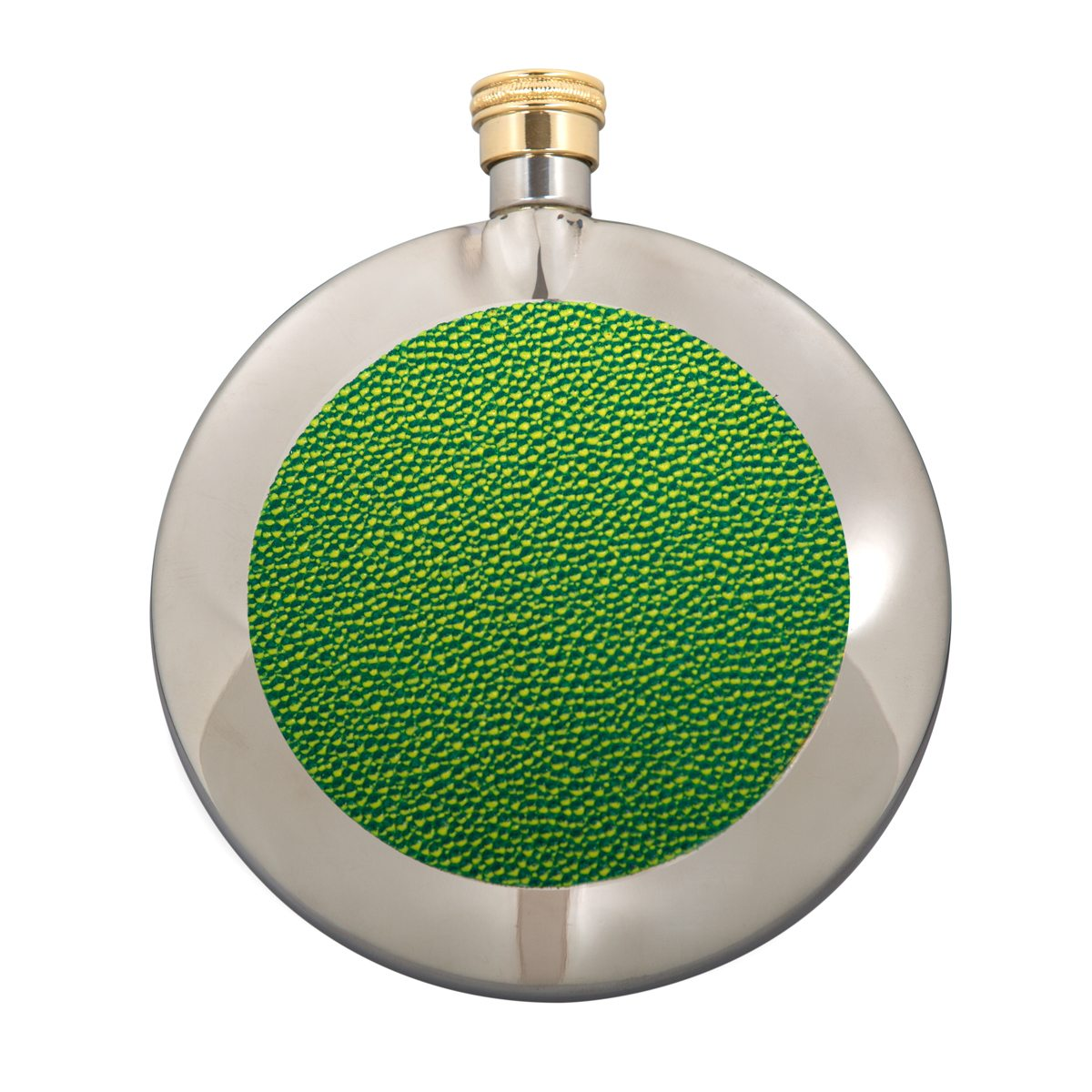 a green stainless steel round 6 oz hip flask by Marlborough of England