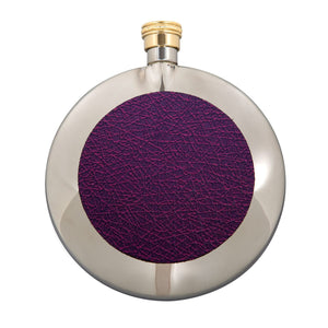 a 6 oz stainless steel and purple round hip flask