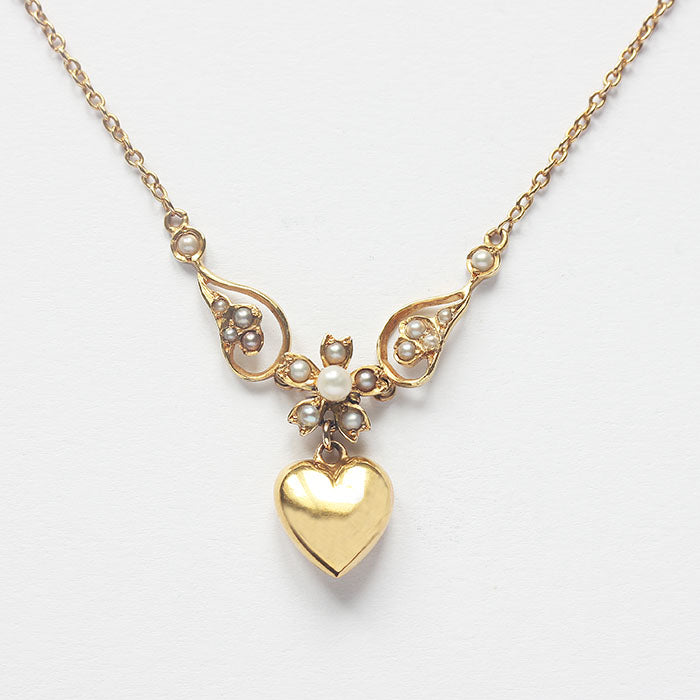 a beautiful antique 15 carat gold seed pearl drop pendant necklace with heart drop