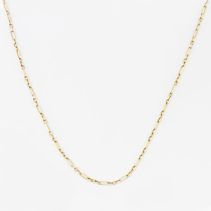 a forty eight inch guard chain with a bar link in 9 carat yellow gold