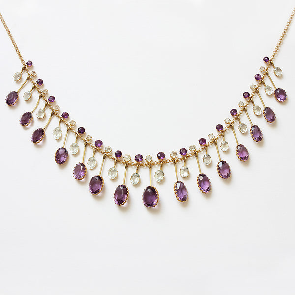 Amethyst & Aquamarine Edwardian Fringe Necklace - Secondhand
