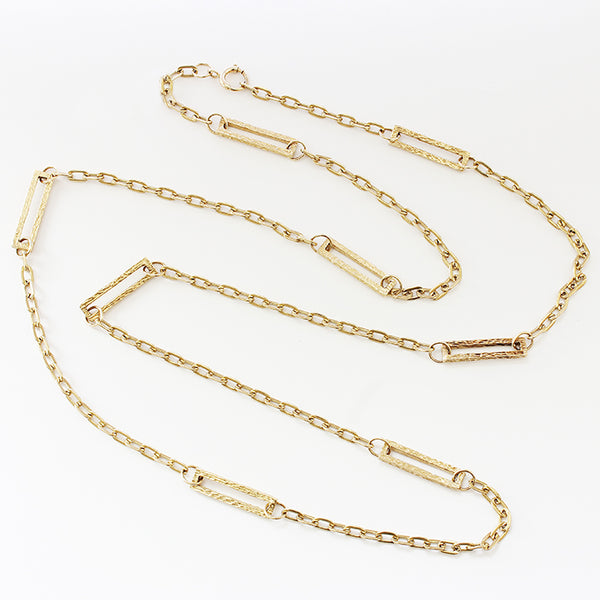a secondhand 1970s yellow gold chain with rectangle sections and plain oval links