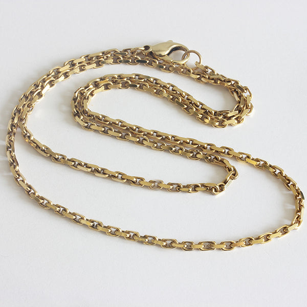 a preowned yellow gold faceted trace chain necklace
