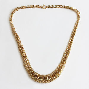 a yellow gold graduated necklace secondhand twisted rope square links vintage 1960s