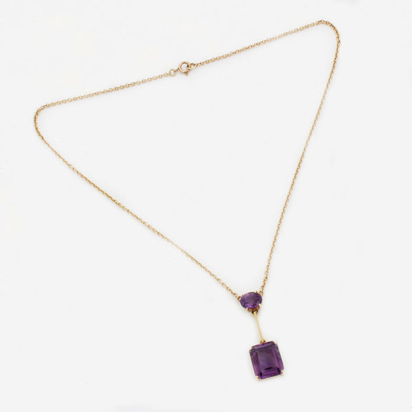 a preowned amethyst 2 stone pendant necklet in yellow gold marston barrett lewes