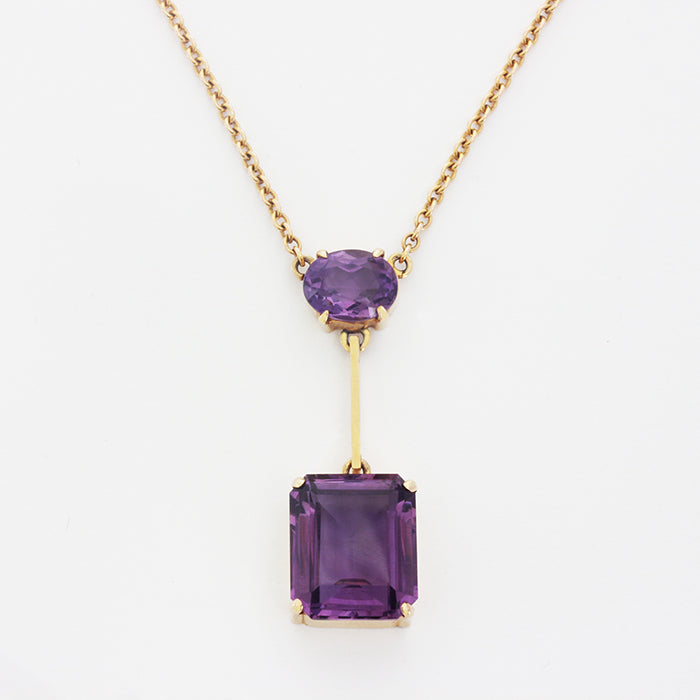a secondhand vintage amethyst 2 stone drop pendant necklace edwardian