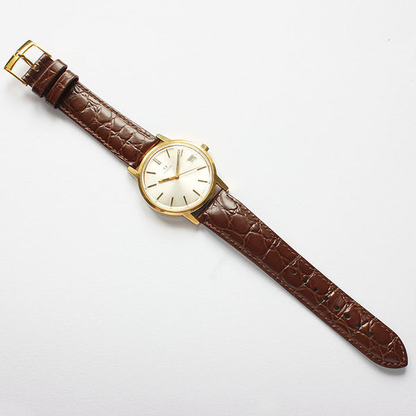 a fine quality vintage omega gold plate watch with date feature and brown leather strap dated 1978 at marston barrett jewellers in lewes