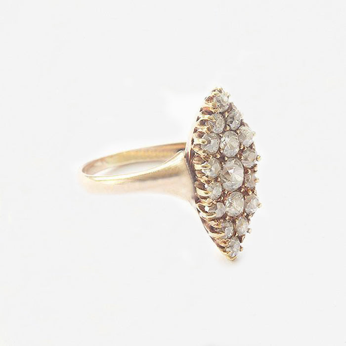 a marquise shaped diamond cluster ring in yellow gold secondhand