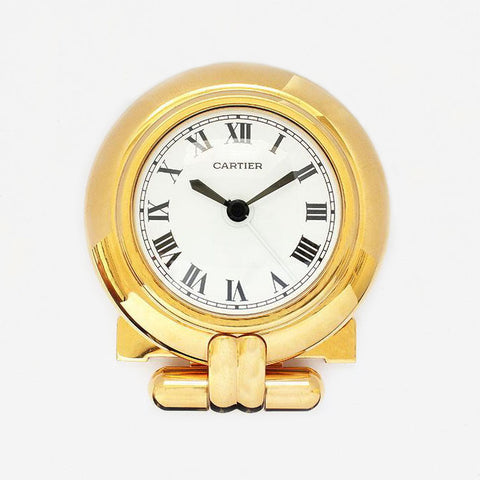 a vintage cartier alarm clock gold plate with original box and papers excellent condition  Edit alt text