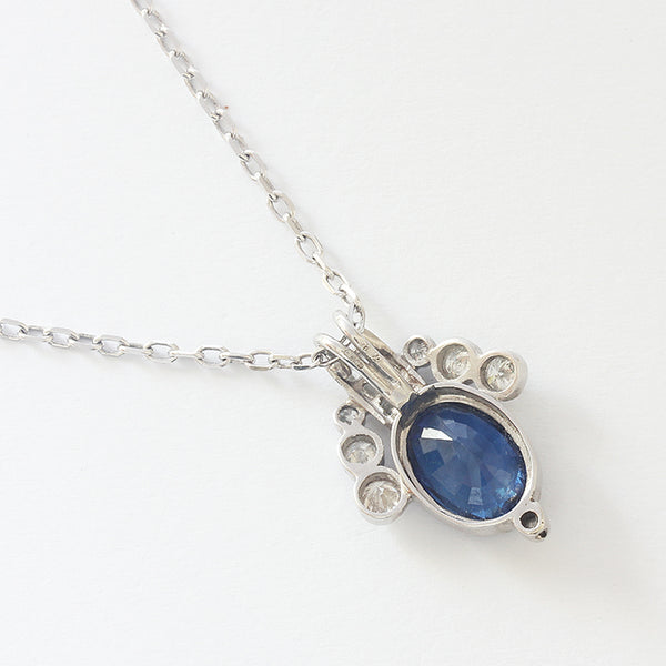 a white gold secondhand modern sapphire and diamond pendant necklace