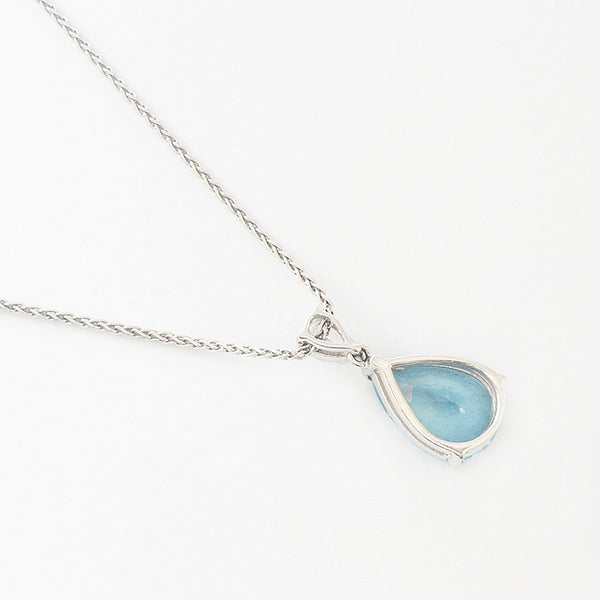 a secondhand aquamarine and diamond 2 stone drop pendant on foxtail necklace in white gold at marston barrett in lewes