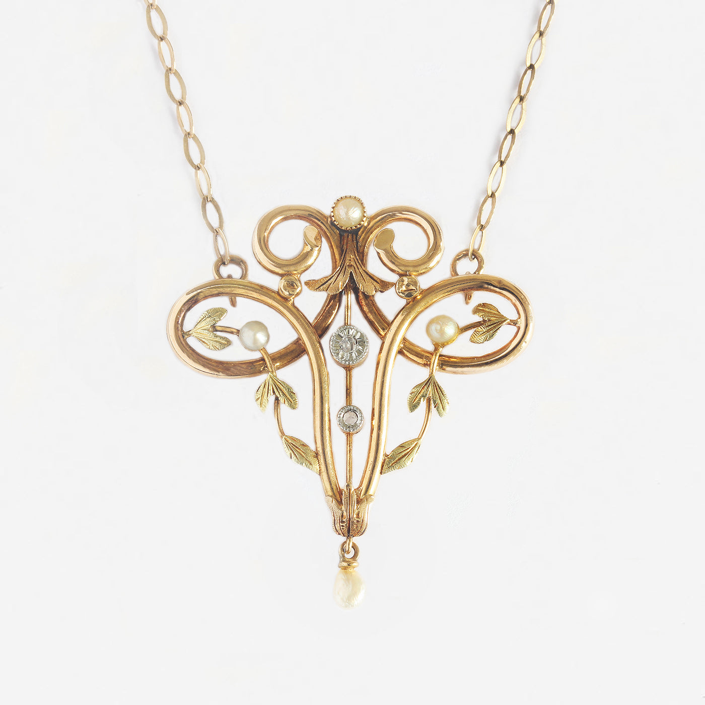 a secondhand beautiful diamond seed pearl art nouveau drop pendant necklace Marston Barrett in lewes