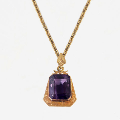 amethyst single stone pendant necklace with zig zag pattern