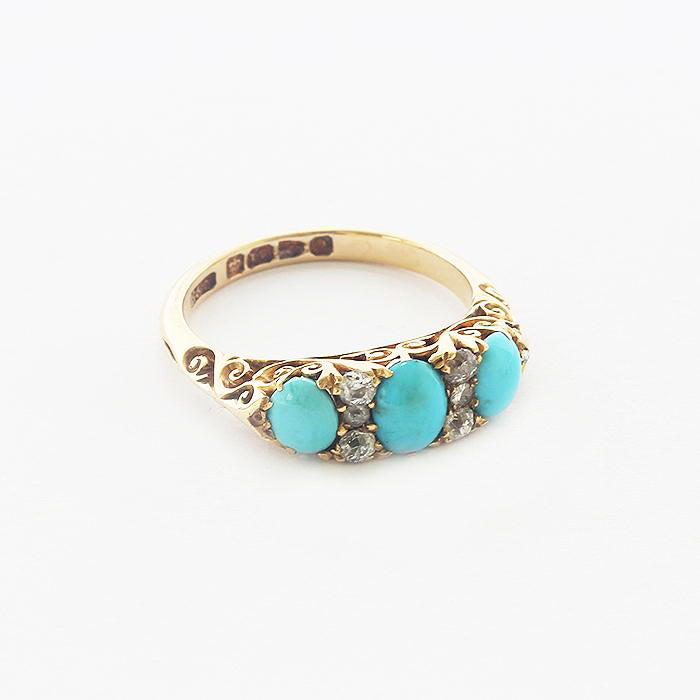 a turquoise and diamond victorian antique ring in yellow gold