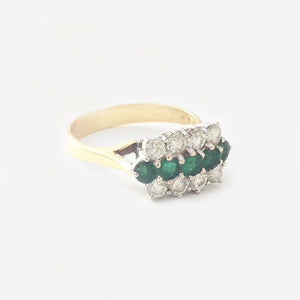 a 3 row secondhand emerald and diamond cluster ring with claw set and yellow white gold  Edit alt text