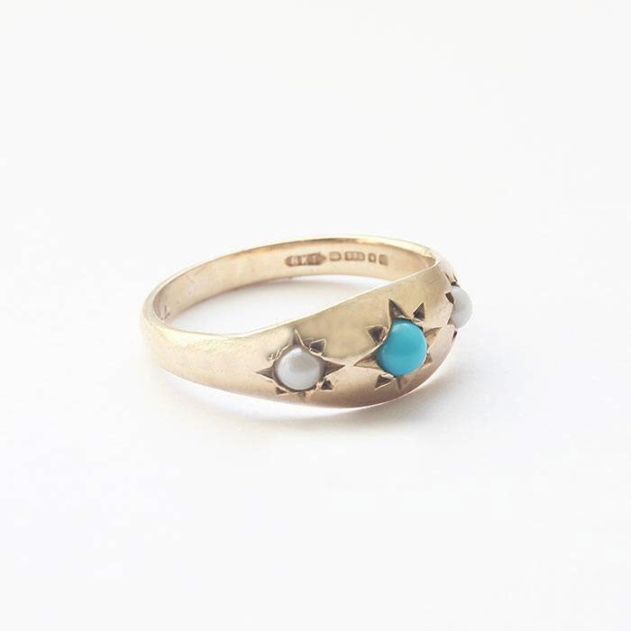 a turquoise and pear 3 stone victorian gold ring