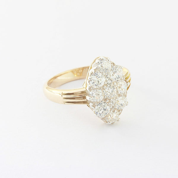 a beautiful victorian diamond marquise shaped cluster ring in yellow gold at marston barrett