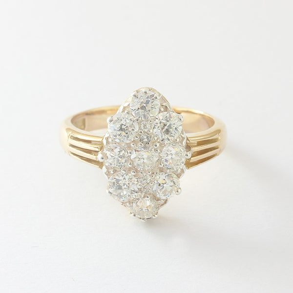 a preowned yellow gold diamond ring cluster marquise shaped