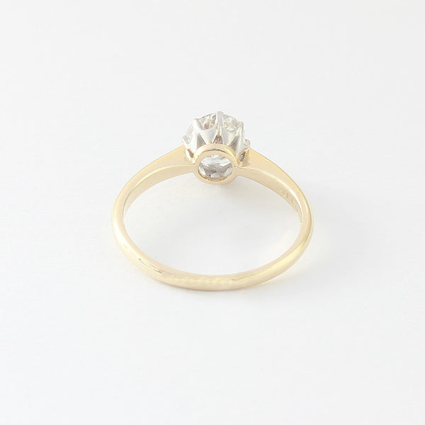 a preowned diamond set engagement ring single stone in gold and platinum setting