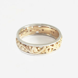 a yellow and white decorative band ring preowned  at Marston Barrett jewellers lewes