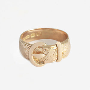a beautiful victorian yellow gold buckle ring with hallmark