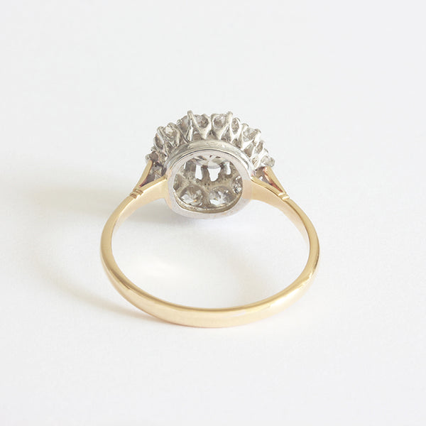 diamond cinnamon and white cluster ring in silver and gold secondhand