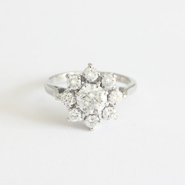 a preloved platinum diamond cluster ring claw set