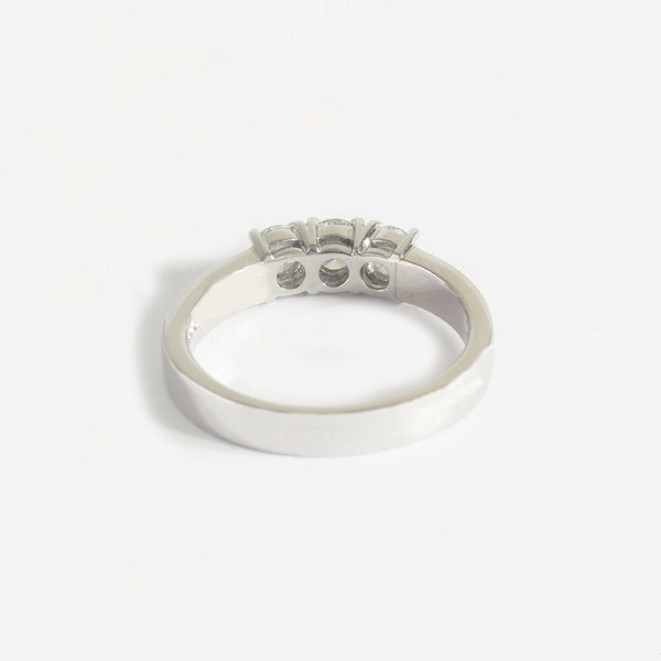a diamond 3 stone engagement ring made in platinum