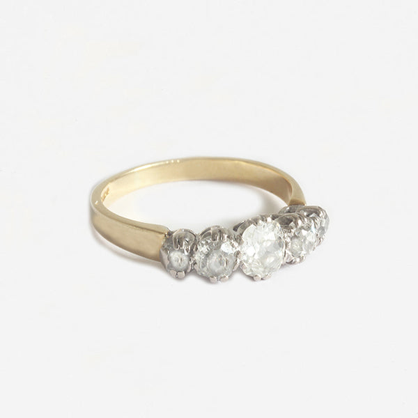 a secondhand 5 stone graduated diamond set ring in yellow gold and white setting