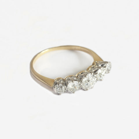 a 5 stone graduated diamond set ring secondhand in gold and platinum