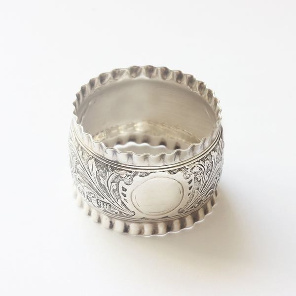 late victorian heavily engraved leaf pattern solid silver napkin ring