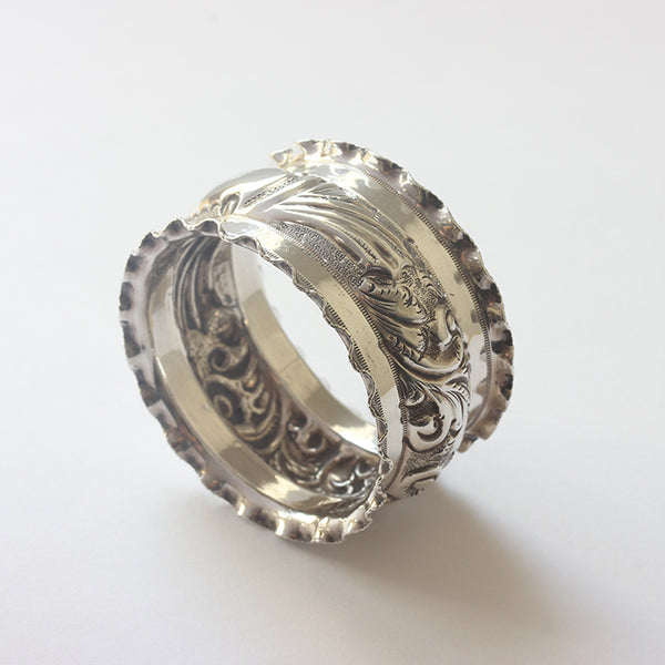 a secondhand silver edwardian napkin ring with nellie name inscribed and dated 1901