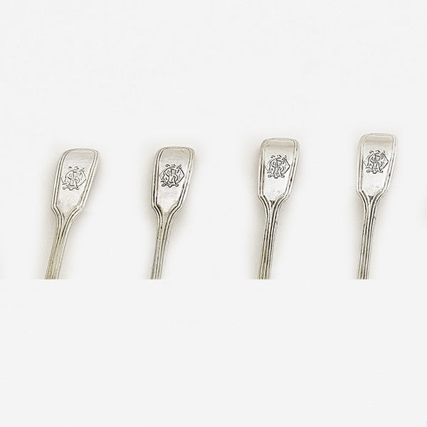 a set of silver victorian salt spoons with initials and hallmarked for london 1873
