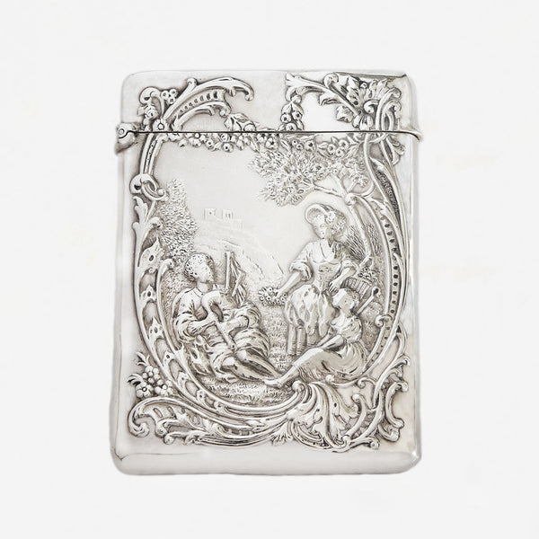 a victorian silver card case with hinge gentleman and lady dated 1899