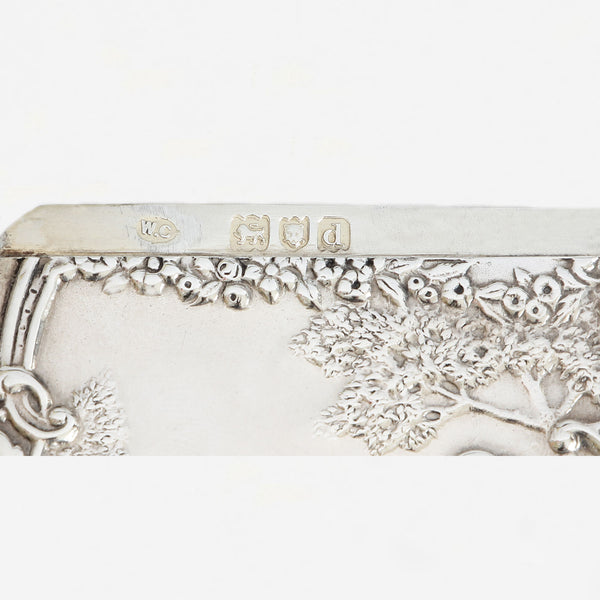 a hallmarked silver card case dated 1899