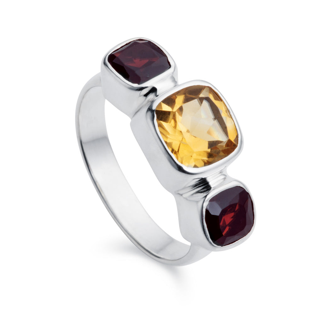 Citrine & Garnet Silver Snapdragon Ring by Christin Ranger